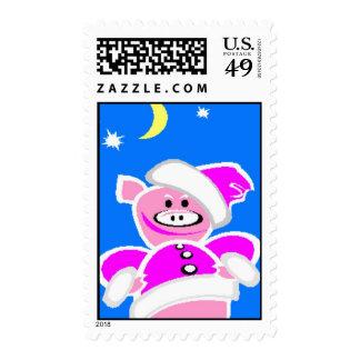 Santa Piggy Postage Stamps