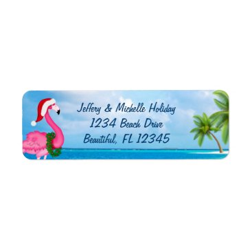 Beach Themed Santa Pink Flamingo Christmas Beach Address Label