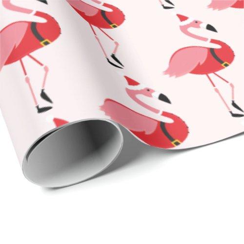 Santa Pink Flamingo Christmas Holiday Pattern Wrapping Paper