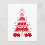 """Santa Pink Flamingo Christmas Tree Postcard<br><div class=""""desc"""">Funny beach Christmas gift for any warm weather Xmas. If you love pink flamingos wearing Santa Claus hats,  then you will love this Christmas tree.</div>"""