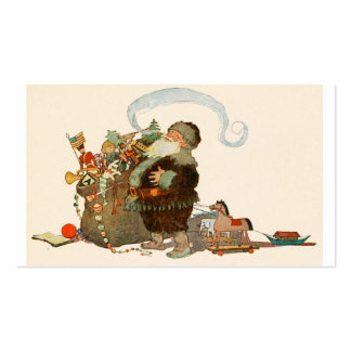 Santa Pipe Sack of Toys Business Cards
