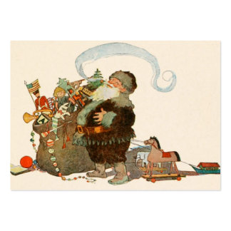 Santa Pipe Sack of Toys Large Business Card
