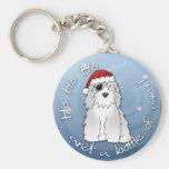 Santa Pirate Old English Sheepdog Basic Round Button Keychain