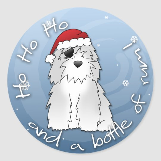 Santa Pirate Old English Sheepdog Classic Round Sticker