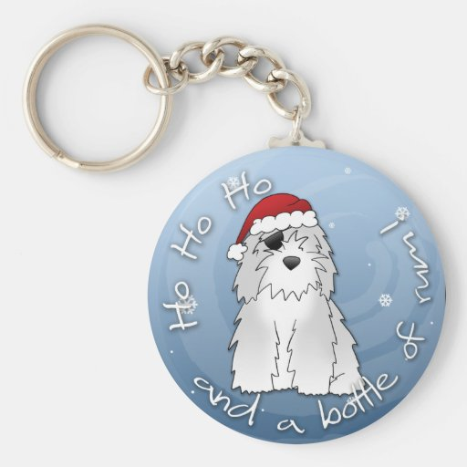 Santa Pirate Old English Sheepdog Key Chain