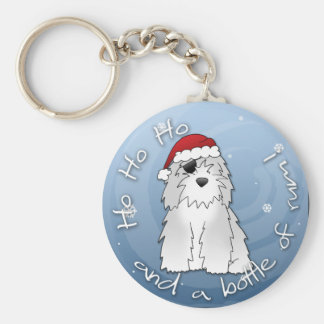 Santa Pirate Old English Sheepdog Keychain