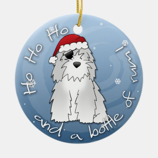 Santa Pirate Old English Sheepdog Ornament