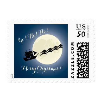 Santa Pirate Ship w/ Dolphins Christmas Holiday Postage