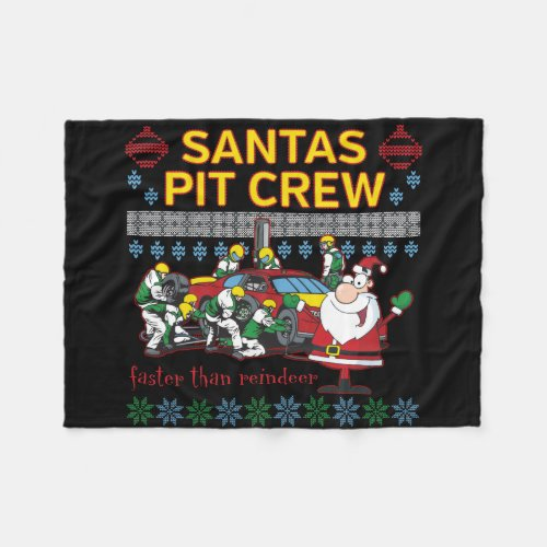 Santa Pit Crew Race Car Ugly Christmas Sweater Fleece Blanket