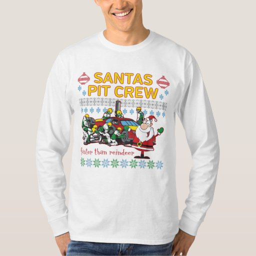 Santa Pit Crew Race Car Ugly Christmas Sweater Tee Shirt