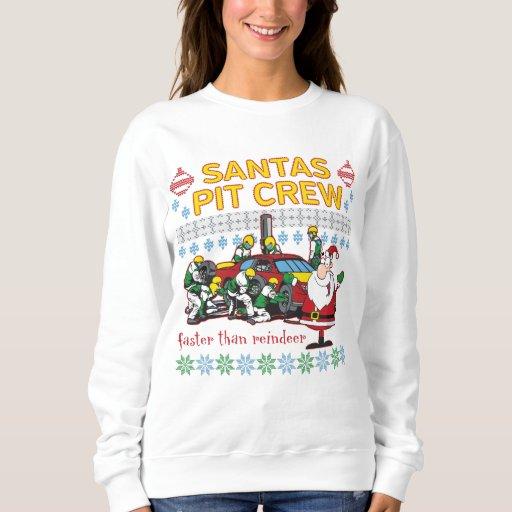 Santa Pit Crew Race Car Ugly Christmas Sweater Tee Shirts