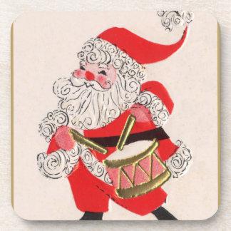 Santa playing a Drum Drink Coasters