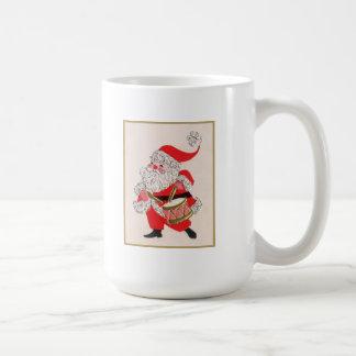 Santa playing a Drum Classic White Coffee Mug