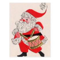 Santa playing a Drum Postcard