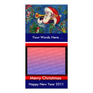 SANTA PLAYING BUGLE MUSICAL CHRISTMAS NIGHT CARD