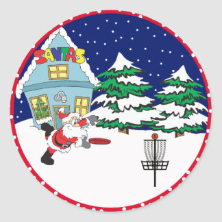 Santa Playing Disc Golf Classic Round Sticker