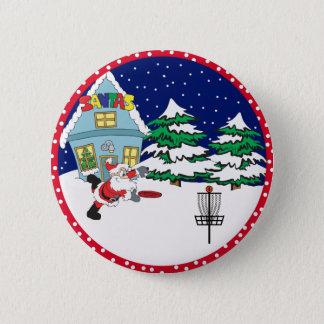 Santa Playing Disc Golf Pinback Button