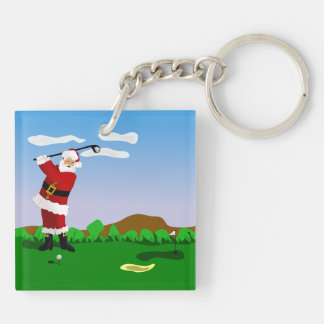 Santa Playing Golf Double-Sided Square Acrylic Keychain