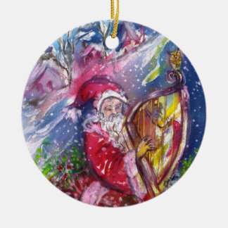SANTA PLAYING HARP IN MOONLIGHT Red Ruby Christmas Ceramic Ornament