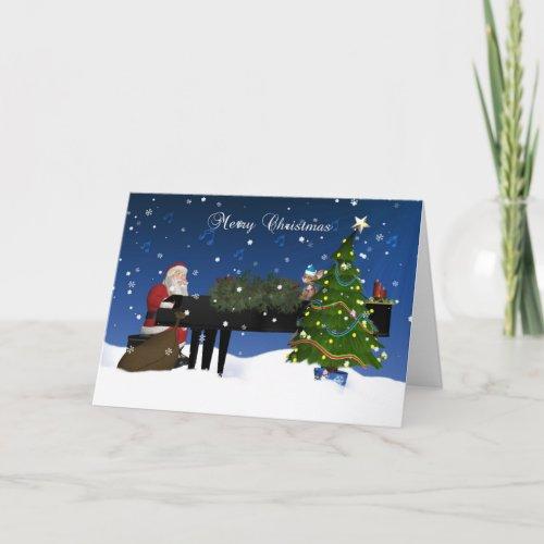 Santa Playing Piano With Holiday Tree And Snow