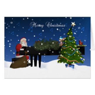 Santa Playing Piano With Holiday Tree And Snow Greeting Card
