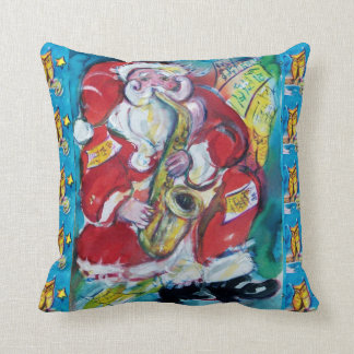 SANTA PLAYING SAX,OWLS AND STARS CHRISTMAS PARTY THROW PILLOW