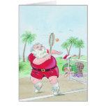 Santa playing tennis Christmas customizable card