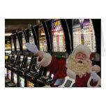 Santa playing the Slots Christmas Card