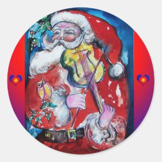 SANTA PLAYING VIOLIN / Musical Christmas Classic Round Sticker