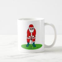 Santa plays golf coffee mugs