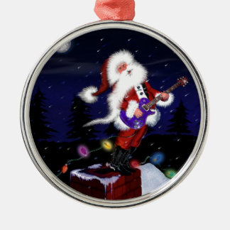 Santa Plays Guitar Metal Ornament
