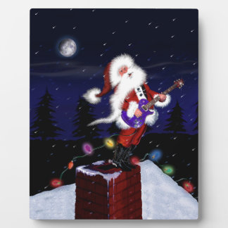 Santa Plays Guitar Plaque