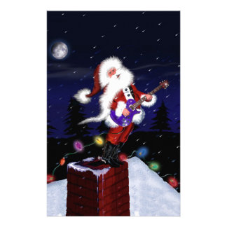 Santa Plays Guitar Stationery
