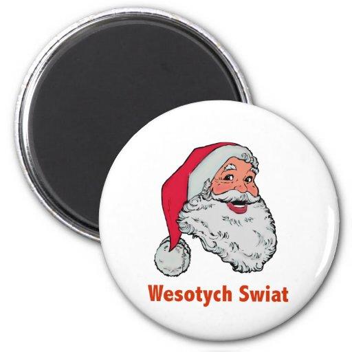 Santa polaco imán redondo 5 cm