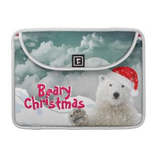 Santa Polar Bear   Beary Christmas Macbook Sleeve