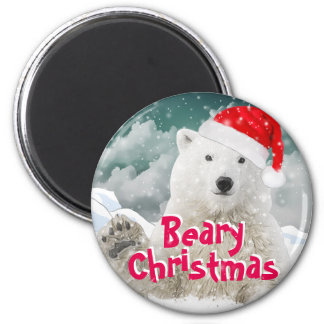 Santa Polar Bear | Beary Christmas Magnet