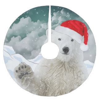 Santa Polar Bear   Beary Christmas Tree Skirt
