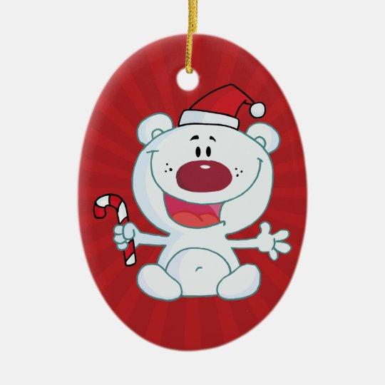 Santa Polar Bear Ceramic Ornament