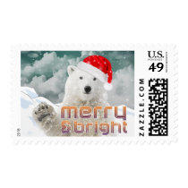 Santa Polar Bear | Christmas Holiday Postage stamp