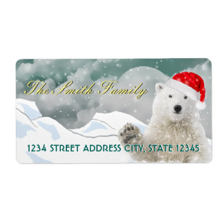 Santa Polar Bear   Custom Return Address Labels