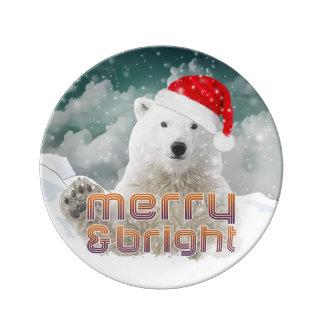 Santa Polar Bear | Decorative Porcelain Plate