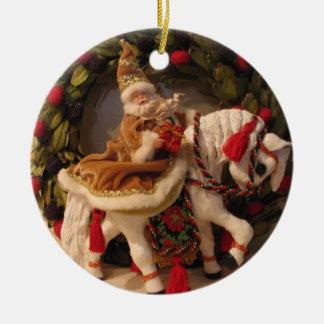 Santa Pony Ceramic Ornament