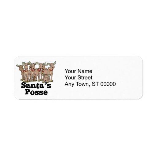 Santa posse reindeer custom return address label