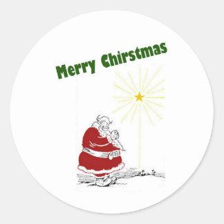 Santa Praying Round Sticker
