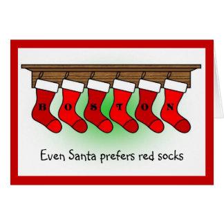 Santa prefiere calcetines rojos tarjeta de felicitación