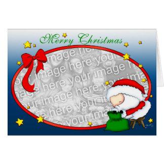 Santa presenta la plantilla tarjeta de felicitación