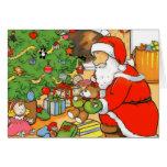 Santa presenta la tarjeta de felicitación