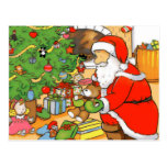 Santa presenta la tarjeta tarjeta postal