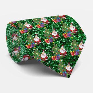 Santa & Presents Green Faux Glitter Tie