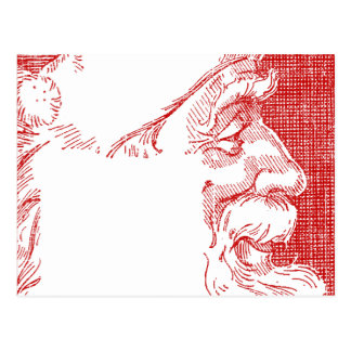 Santa Profile Crosshatch Style Postcard